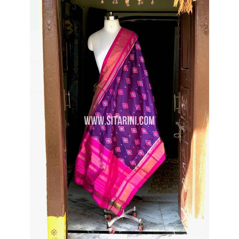 Ikkat Pattu Dupattas-Purple and Pink-Sitarini-PSHIPD238