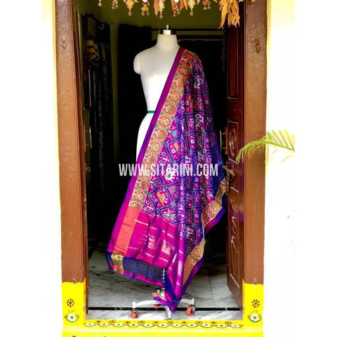 Ikkat Pattu Dupattas-Purple and Pink-Sitarini-PSHIPD250