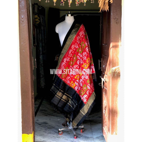 Ikkat Pattu Dupattas-Red and Black-Sitarini-PSHIPD229