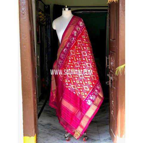 Ikkat Pattu Dupattas-Red and Dark Pink-Sitarini-PSHIPD243