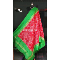 Ikkat Pattu Dupattas-Red and Green-Sitarini-PRHIPD110