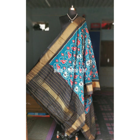 Ikkat Pattu Dupattas-Sea Blue and Black-Sitarini-PRHIPD107