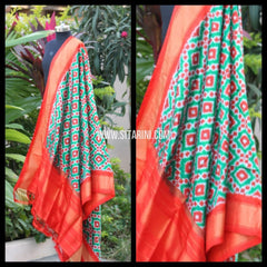Ikkat Pattu Dupattas-Sea Green and Red-Sitarini-PRHIPD120