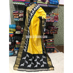Ikkat Pattu Dupattas-Yellow and Black-Sitarini-PGMHIPD162