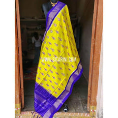 Ikkat Pattu Dupattas-Yellow and Blue-Sitarini-PSHIPD195