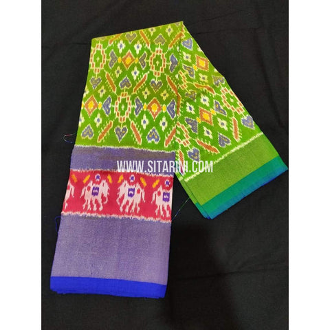 Ikkat Pattu Langa Voni-Light Green and Blue-Sitarini-PPBIPLE105