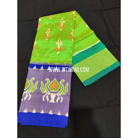 Ikkat Pattu Langa Voni-Light Green and Royal Blue-Sitarini-PPBIPLE108