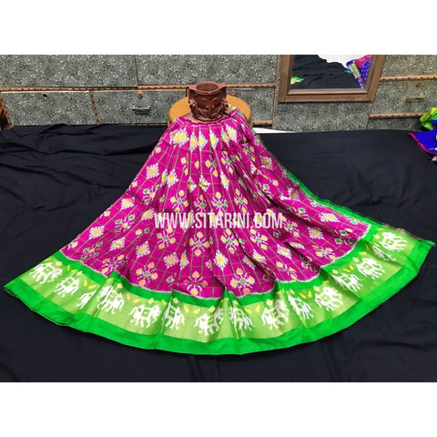 Ikkat Pattu Langa Voni-Magenta and Green-3 to 8 Years-PGMHIPLK221