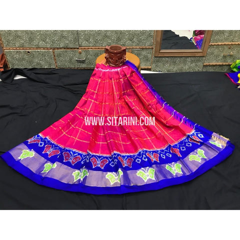 Ikkat Pattu Langa Voni-Pink and Royal Blue-3 to 8 Years-PGMHIPLK215