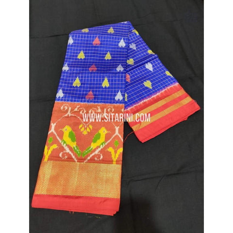 Ikkat Pattu Langa Voni-Royal Blue and Pink-Sitarini-PPBIPLE102