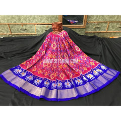 Ikkat Pattu Lehanga-3 to 8 years-Pink and Blue-Sitarini-PGMHIPLM105