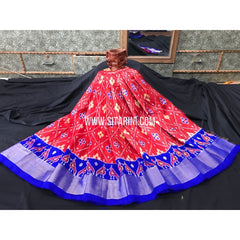 Ikkat Pattu Lehanga-3 to 8 years-Red and Blue-Sitarini-PGMHIPLM102