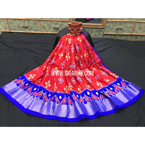 Ikkat Pattu Lehanga-3 to 8 years-Red and Blue-Sitarini-PGMHIPLM175