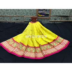 Ikkat Pattu Lehanga-3 to 8 years-Yellow and Pink-Sitarini-PGMHIPLM142