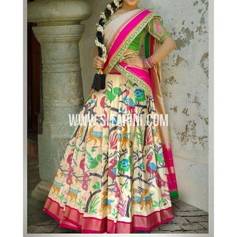 Ikkat Pattu Lehanga-Cream and Magenta-Sitarini-PSHIPL192