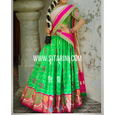 Ikkat Pattu Lehanga-Green and Magenta-Sitarini-PSHIPL185