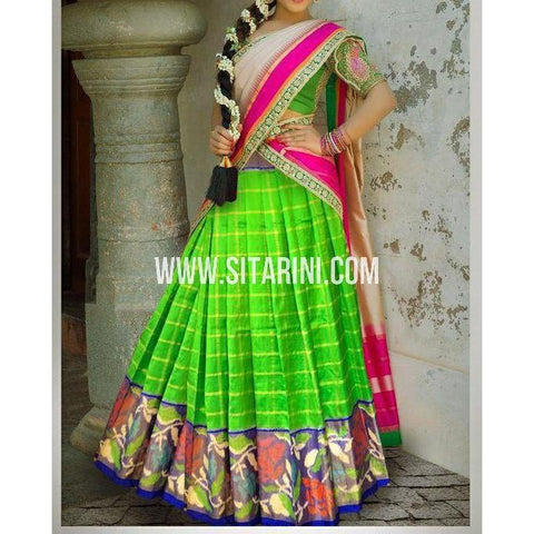 Ikkat Pattu Lehanga-Green and Royal Blue-Sitarini-PSHIPL191
