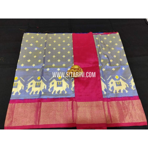 Ikkat Pattu Lehanga-Grey and Red-0 to 3 Years-Sitarini-PPBIPL128