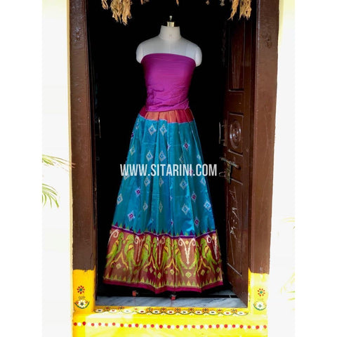 Ikkat Pattu Lehanga-Light Blue and Magenta-Sitarini-PSHIPL156