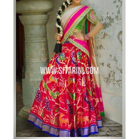 Ikkat Pattu Lehanga-Maroon and Royal Blue-Sitarini-PSHIPL193
