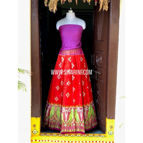 Ikkat Pattu Lehanga-Orange and Pink-Sitarini-PSHIPL157