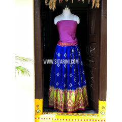Ikkat Pattu Lehanga-Royal Blue and Magenta-Sitarini-PSHIPL161