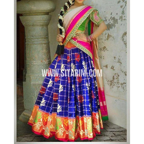 Ikkat Pattu Lehanga-Royal Blue and Red-Sitarini-PSHIPL187