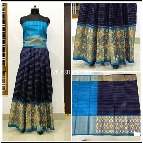Ikkat Pattu Lehanga with Checks Body-Navy Blue and Light Blue-Sitarini-PSHIPL155