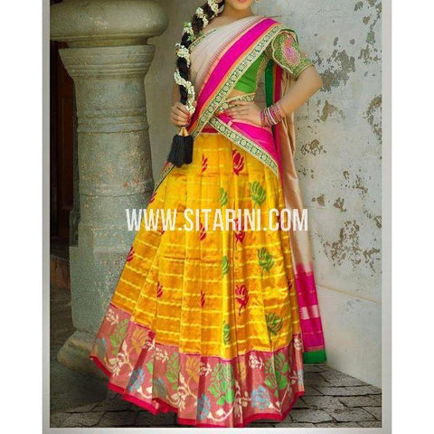 Ikkat Pattu Lehanga-Yellow and Magenta-Sitarini-PSHIPL188