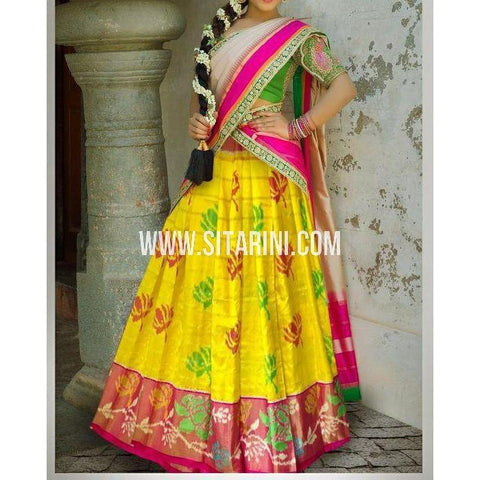 Ikkat Pattu Lehanga-Yellow and Magenta-Sitarini-PSHIPL190