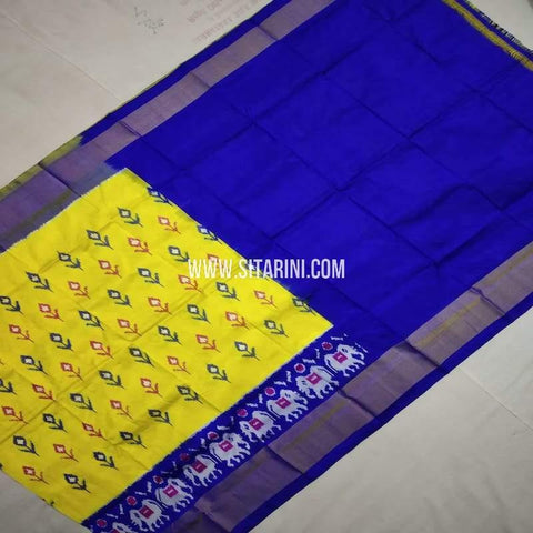 Ikkat Pattu Lehenga (3-8 Years)-Yellow-Sitarini-SITMIL721