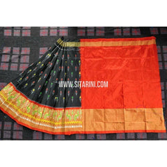 Ikkat Pattu Lehenga-3 to 8 years old-Black and Orange-Sitarini-PRHIPL168
