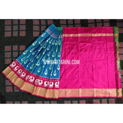 Ikkat Pattu Lehenga-3 to 8 years old-Pink and Blue-Sitarini-PRHIPL167