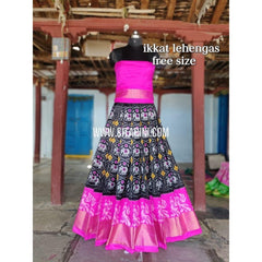 Ikkat Pattu Lehenga-Black and Pink-Sitarini-SITEIL284