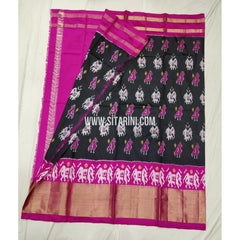 Ikkat Pattu Lehenga-Black And Pink-Sitarini-SITEIL314