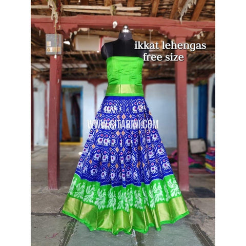 Ikkat Pattu Lehenga-Blue and Green-Sitarini-SITEIL283