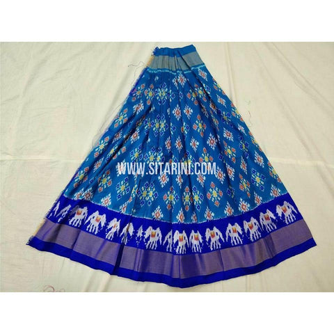 Ikkat Pattu Lehenga-Blue and Royal Blue-PSHIPL256