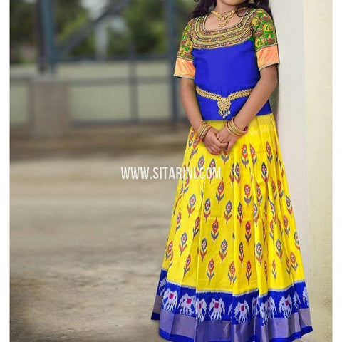 Ikkat Pattu Lehenga-Blue and Yellow-Upto 7years-PSHIPLM116
