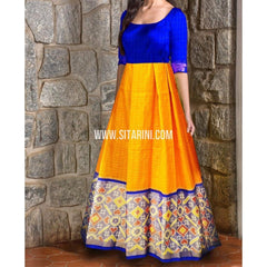 Ikkat Pattu Lehenga-Checks-Yellow and Royal Blue-Sitarini-PRHIPL222
