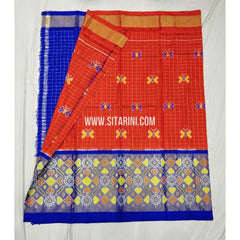 Ikkat Pattu Lehenga-Dark Orange And Blue-Sitarini-SITEIL315