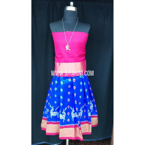 Ikkat Pattu Lehenga for Kids-Blue and Pink-0 to 3 years-Sitarini-SITKIL188