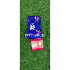 Ikkat Pattu lehenga For Kids-Blue and Pink-3 to 8 Years-Sitarini-SITMIL103