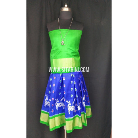 Ikkat Pattu Lehenga for Kids-Green and Blue-0 to 3 years-Sitarini-SITKIL197