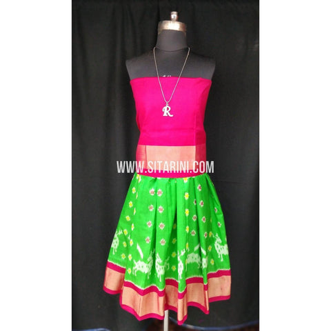Ikkat Pattu Lehenga for Kids-Green and Pink-0 to 3 years-Sitarini-SITKIL194