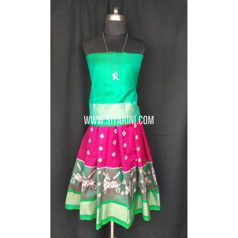 Ikkat Pattu Lehenga for Kids-Green and Pink-0 to 3 years-Sitarini-SITKIL195