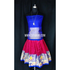 Ikkat Pattu Lehenga for Kids-Pink and Blue-0 to 3 years-Sitarini-SITKIL190