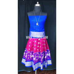 Ikkat Pattu Lehenga for Kids-Pink and Blue-0 to 3 years-Sitarini-SITKIL191