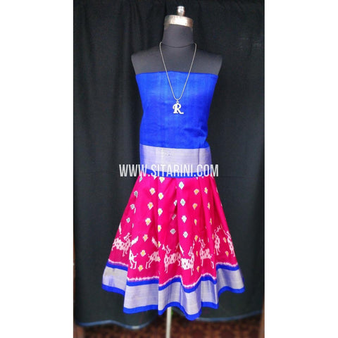 Ikkat Pattu Lehenga for Kids-Pink and Blue-0 to 3 years-Sitarini-SITKIL192
