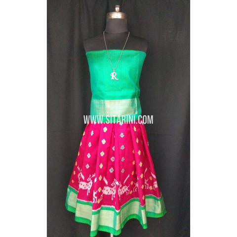 Ikkat Pattu Lehenga for Kids-Pink and Green-0 to 3 years-Sitarini-SITKIL198