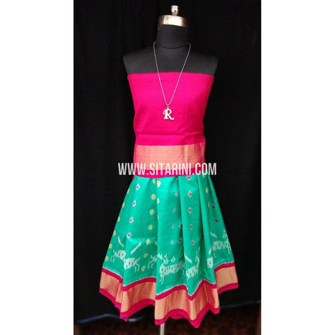 Ikkat Pattu Lehenga for Kids-Pink and Seagreen-0 to 3 years-Sitarini-SITKIL185